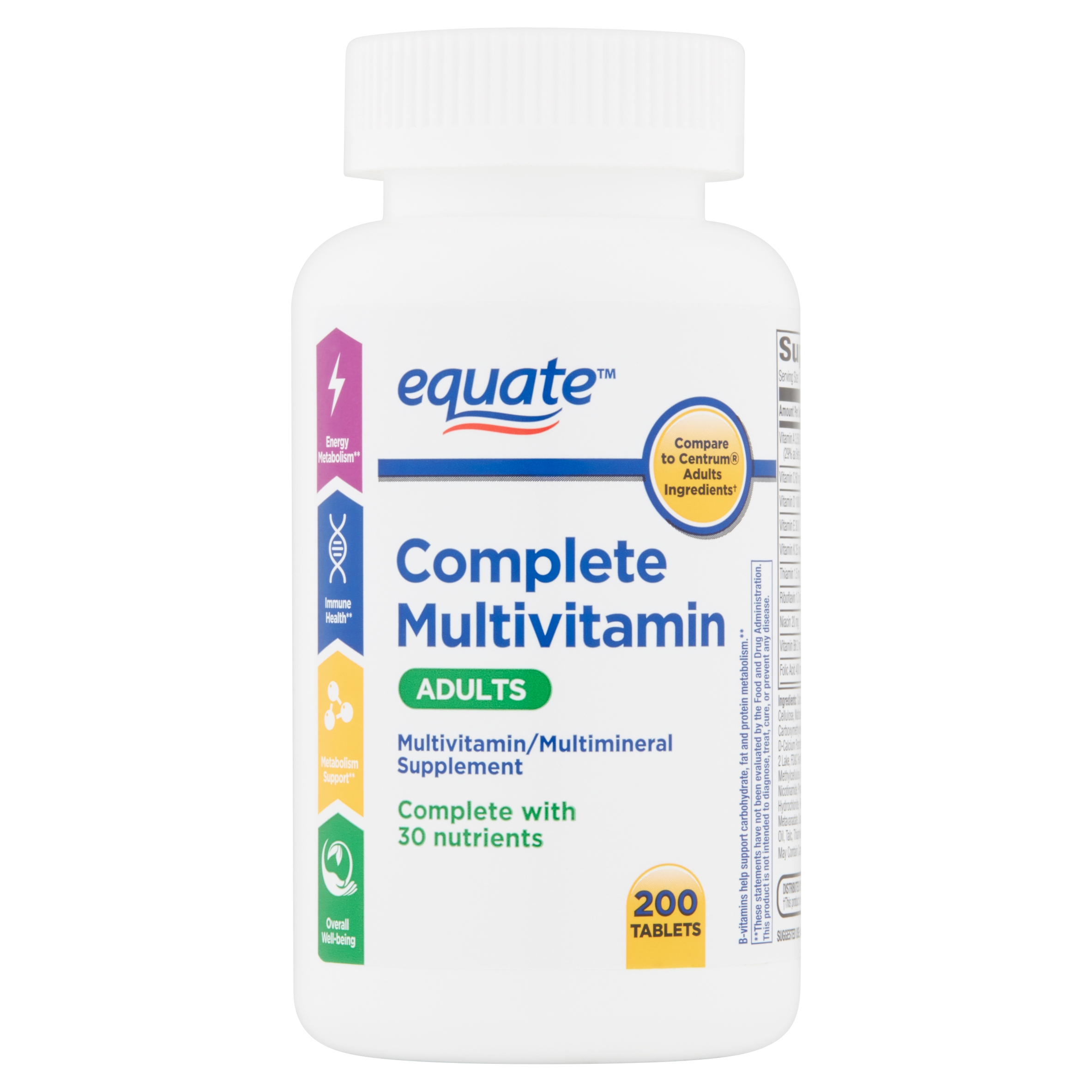 Equate Adult Complete Multivitamin Tablets, 200 count - Walmart com