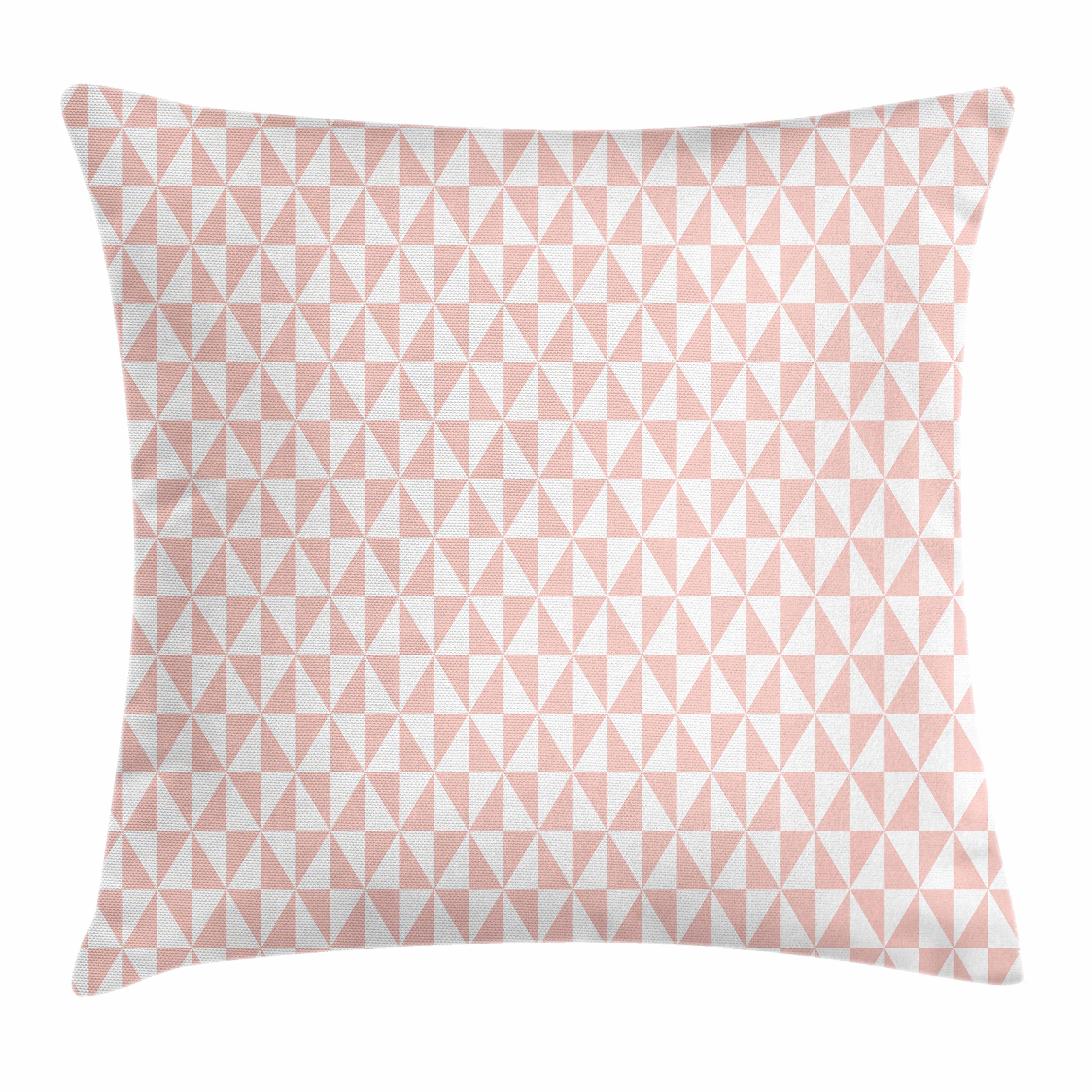 Pale Pink Throw Pillow Cushion Cover Bicolor Triangles Pattern In