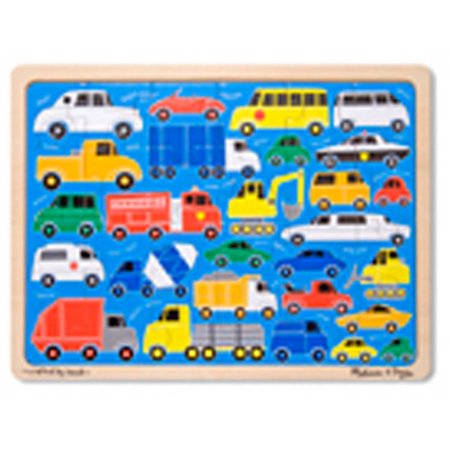 Melissa & Doug Beep Beep Cars and Trucks Wooden Jigsaw Puzzle With Storage Tray (24 pcs)