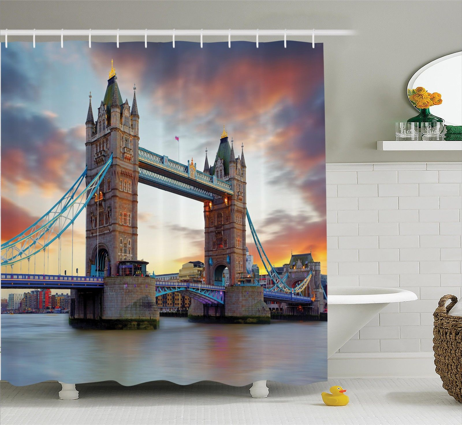 London Decor Shower Curtain Set, The Big Ben And The Westminster Bridge At Night In Uk Street River European Look Photo, Bathroom Accessories, 69W X 70L Inches, By Ambesonne