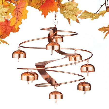 Spiral Wind Sculpture - Hanging Spiral Bells Outdoor Wind Spinner to Add Sparkle, Sound Motion to Your Yard