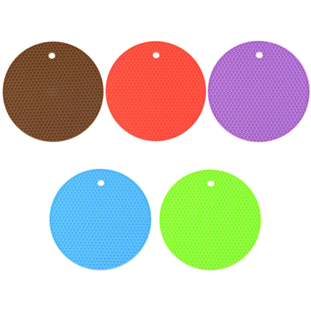 Bangcool 5PCS Silicone Coasters Resistant Non Slip Hot Pads Trivet Mats