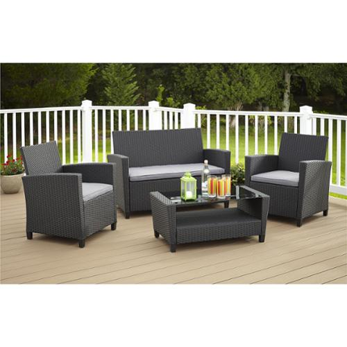 Avenue Greene 4 Piece Resin Wicker Deep Seating Patio Conversation Set by Overstock