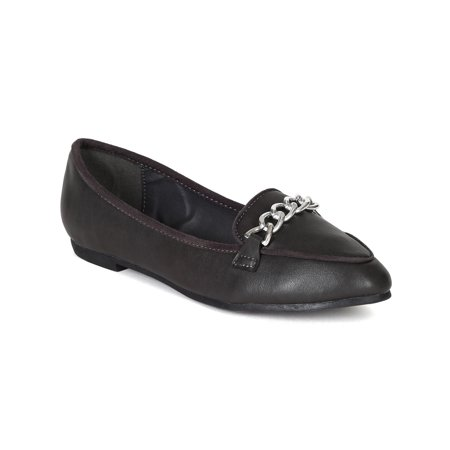 Breckelles BE97 Women Leatherette Chain Moccasin Flat Loafer