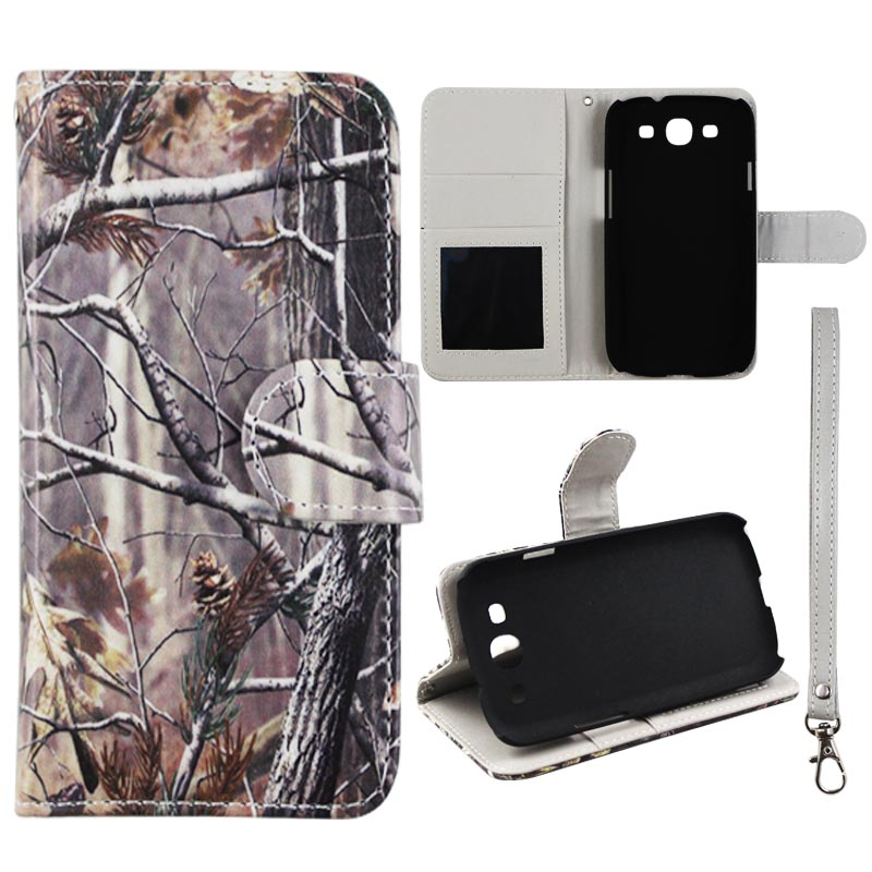 Camo Pinetree Wallet Folio Case for Samsung Galaxy S3 III i9300 Fashion Flip PU Leather Cover Card Slots & Stand
