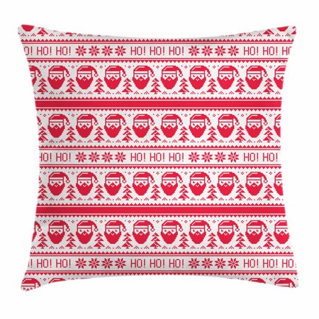 Nordic Throw Pillow Cushion Cover, Ho Ho Ho Christmas Illustration with Santa with Full Beard Cross Stitch Pattern, Decorative Square Accent Pillow Case, 18 X 18 Inches, Scarlet White, by Ambesonne