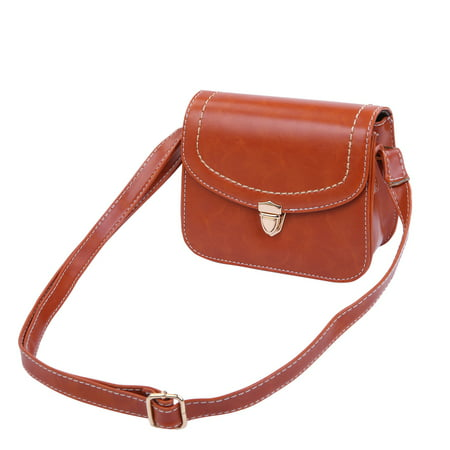 Solid Color Small PU Leather Flap Clutch Crossbody Shoulder Bag