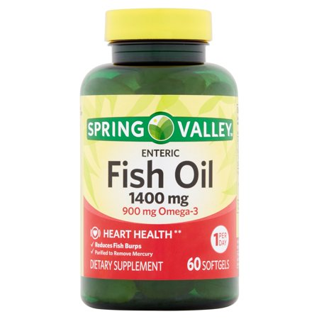 Spring valley fish oil enteric softgels 1400 mg 60 ct for Fish oil pills walmart