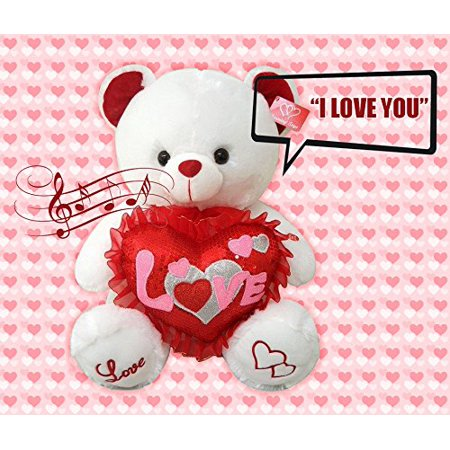 Cute Her Or His Valentines Day Gift Speaks  I Love You    Turns Red Soft Plush Teddy Bear