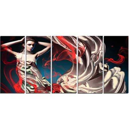 Womens Fairy Dress (Design Art Woman in Long Fairy Dress 5 Piece Wall Art on Wrapped Canvas)