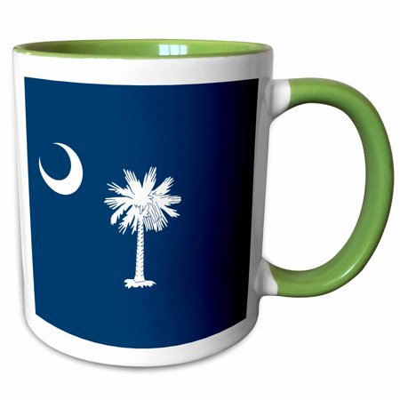 3dRose Flag of South Carolina SC - US American United State of America USA White palmetto tree indigo blue - Two Tone Green Mug, (Indigo Blue Ceramic Mug)