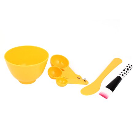 Home DIY Bowl Brush Spoon Beauty Face Mask Outfit Kit 4 in 1 Set Yellow - Diy 70s Outfit