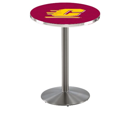 NCAA Pub Table by Holland Bar Stool, Stainless - CMU Chippewas, 42'' - L214