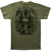 Novelty Men's Skull Wings Headstock T-shirt Small Green