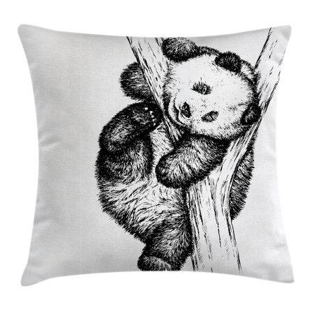 Animal Decor Throw Pillow Cushion Cover, Cute Little Panda Bear on Tree Branch Fury Tropical Jungle Zoo Sketchy Print, Decorative Square Accent Pillow Case, 16 X 16 Inches, Black White, by Ambesonne