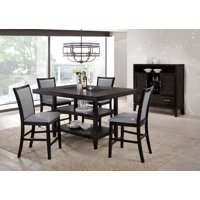 Home Source Grazia Espresso 5 Piece Counter Height Dining Set, 1 Table with Storage and 4 Chairs