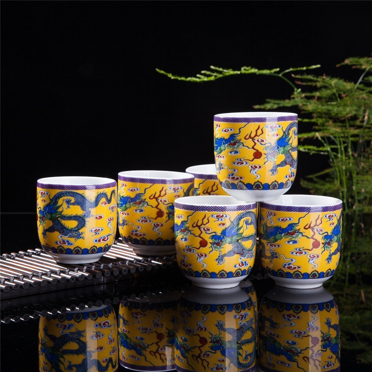 Set Of 6 Eastern Asian Design Ceramic Tea Cups In Yellow Dragon - 8 OZ Capacity Each