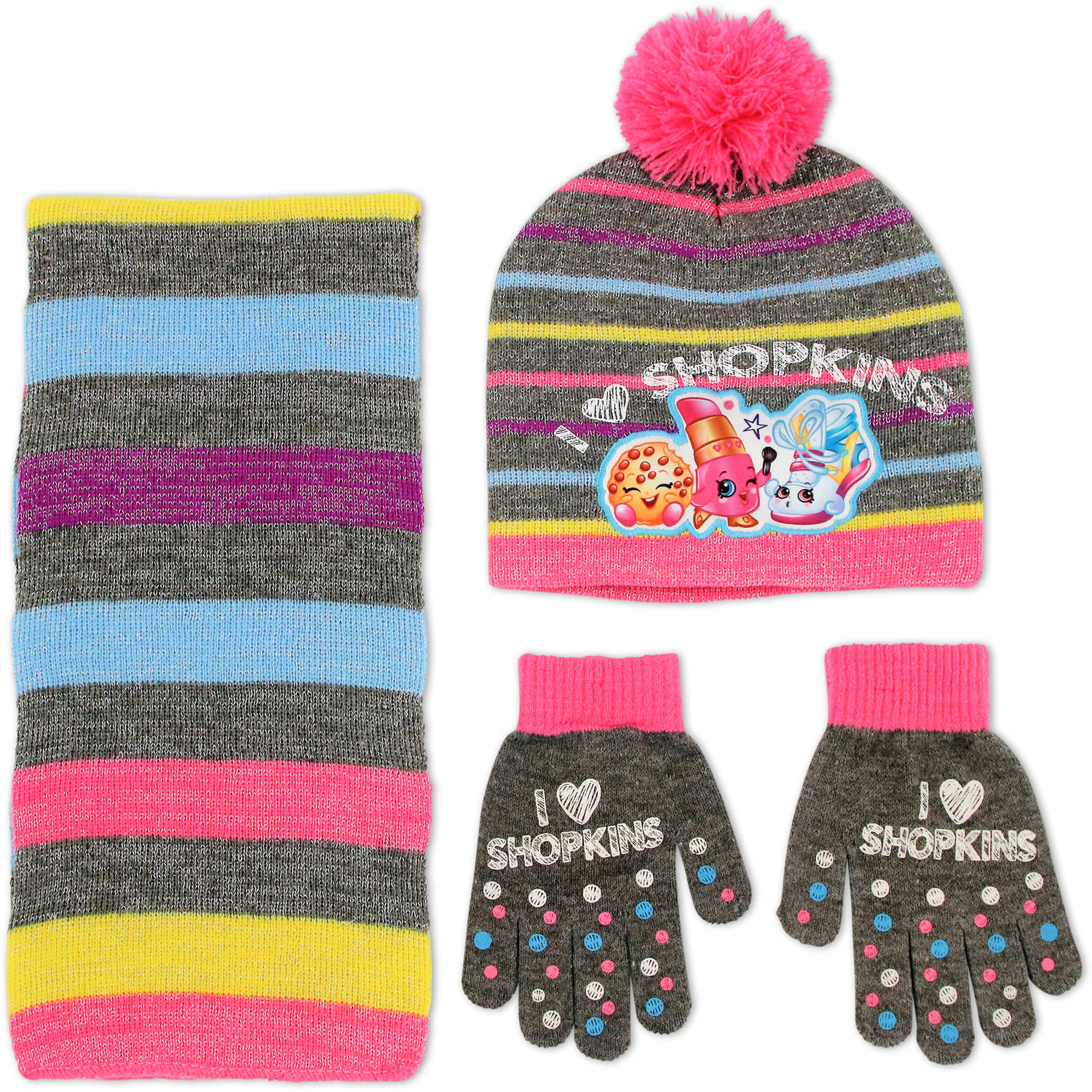 Shopkins Girls Acrylic Knit Winter Beanie Pom Hat With Matching Gloves And Scarf Set