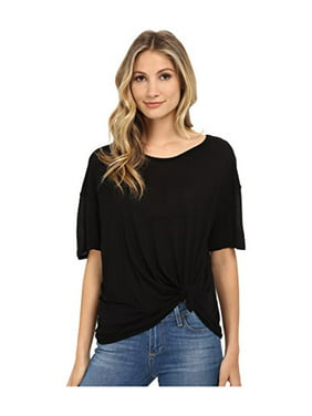 023c07af61210 Product Image Michael Stars Women's Micro Modal Short Sleeve w/ Side Tie  Black T-Shirt XS