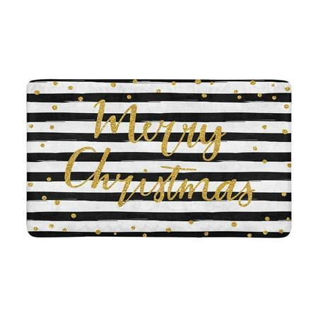 MKHERT Merry Christmas Gold Glittering Lettering Design Doormat Rug Home Decor Floor Mat Bath Mat 30x18 inch Gold Door Mat