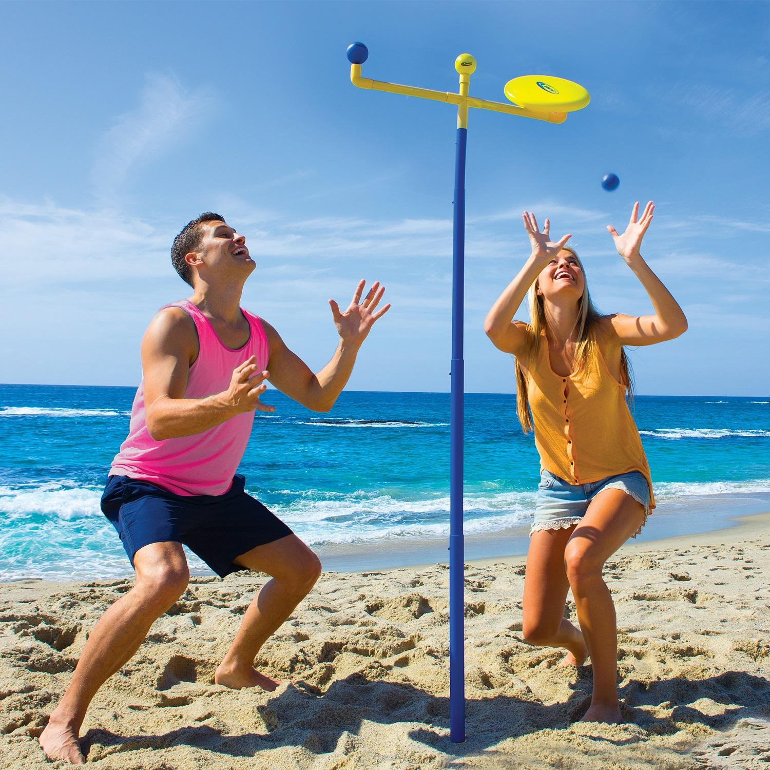 Blue and Yellow Knock 'Em Off Outdoor Backyard Recreational Flying Disc Game Set