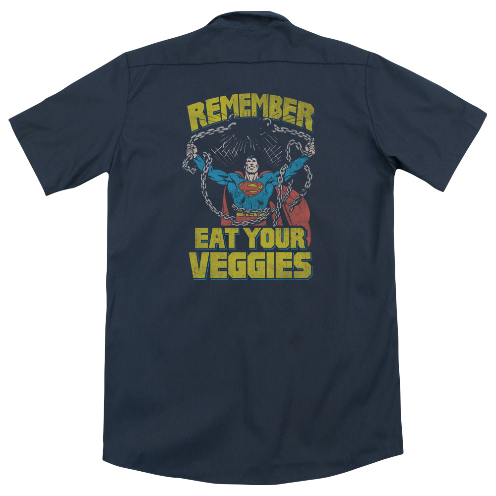 Superman Veggie Power (Back Print) Mens Work Shirt