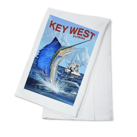 Key West, Florida - Sailfish Deep Sea Fishing - Lantern Press Artwork (100% Cotton Kitchen