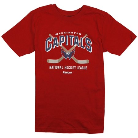 Reebok NHL Youth Boys Washington Capitals Short Sleeve Team Tee T-Shirt, Red