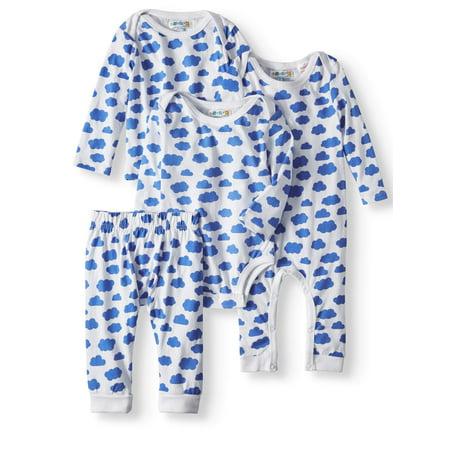 Cloud Printed Long Sleeve Bodysuit, Top, Pants & Footless Sleep N' Play Pajamas, 4pc Set (Baby Boys)