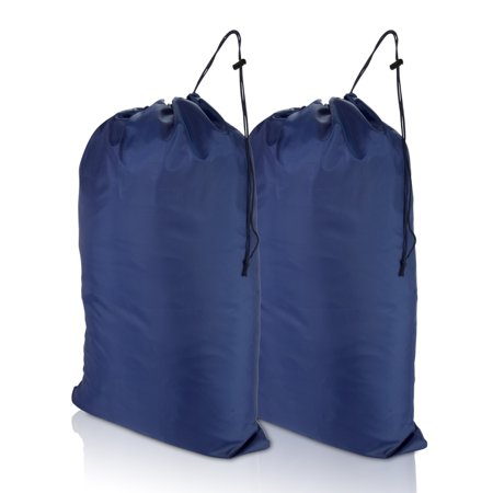 Dalix Large Travel Laundry Bag For Camp College Drawstring Bags 2 Pack Navy Blue