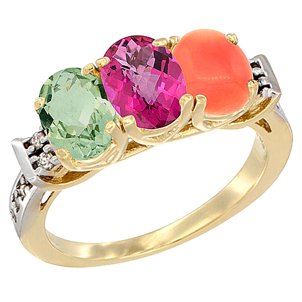 14K Yellow Gold Natural Green Amethyst, Pink Topaz & Coral Ring 3-Stone 7x5 mm Oval Diamond Accent, sizes 5 10 by WorldJewels