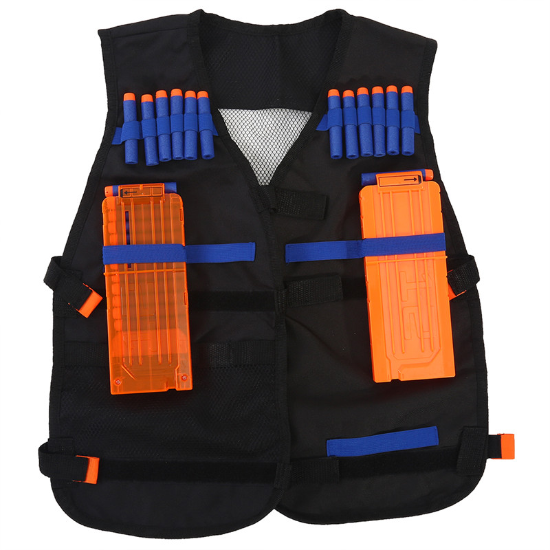 Adjustable Lightweight Kids Tactical Vest with 40 Pcs Foam Bullets,2 Long Pcs Darts Clips and 1 Pcs Wristband for Elite Series