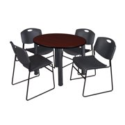"""Kee 36"""" Round Breakroom Table- Mahogany/ Black & 4 Zeng Stack Chairs- Black"""