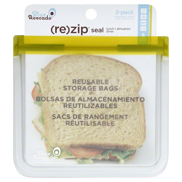 Blue Avocado (Re) Zip 2 Pack Moss Green Reusable Storage Bags, 2 bags