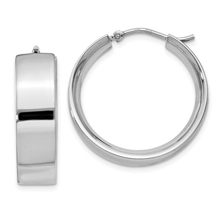 Sterling Silver Rhodium-plated Polished Hoop Earrings QE11542 - image 2 de 2