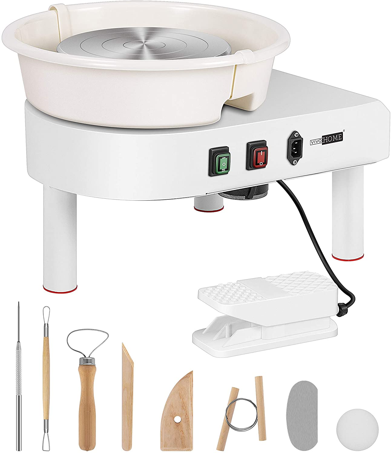 25CM LCD Display Touch Screen Electric Pottery Wheel Machine Table Top Ceramic Forming Machine with Foot Pedal Removable Detachable ABS Basin DIY Clay Art Craft Shaping Tools Gray