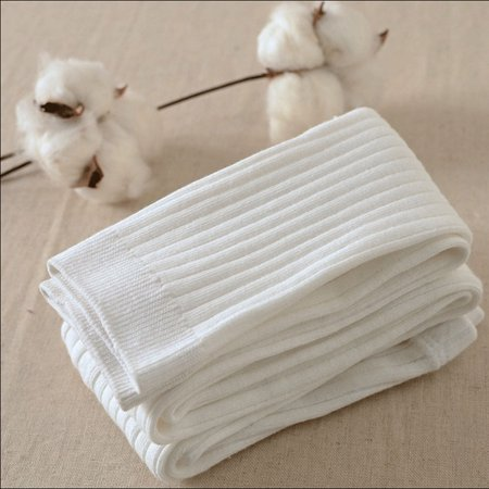 Girl Kid baby knee Calf High Cotton long Socks Tights protector White 0-1 year ()