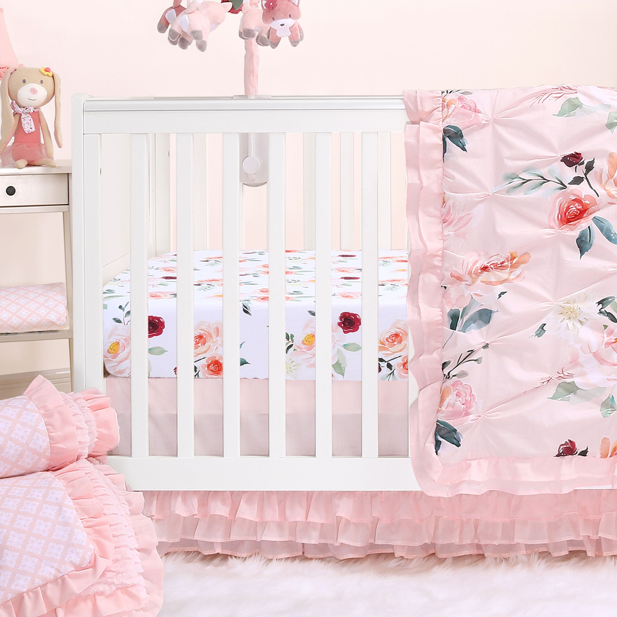 Rose Watercolor Floral Blush Pink 4-Piece Baby Girl Crib Bedding Set by The Peanut Shell
