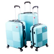 BIGLAND 3 Pcs ABS Luggage Set Hard Suitcase Spinner Set Travel Bag Trolley Wheels Coded Lock Teal Blue