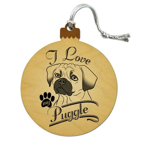 I Love My Puggle Wood Christmas Tree Holiday Ornament (Love Tree)