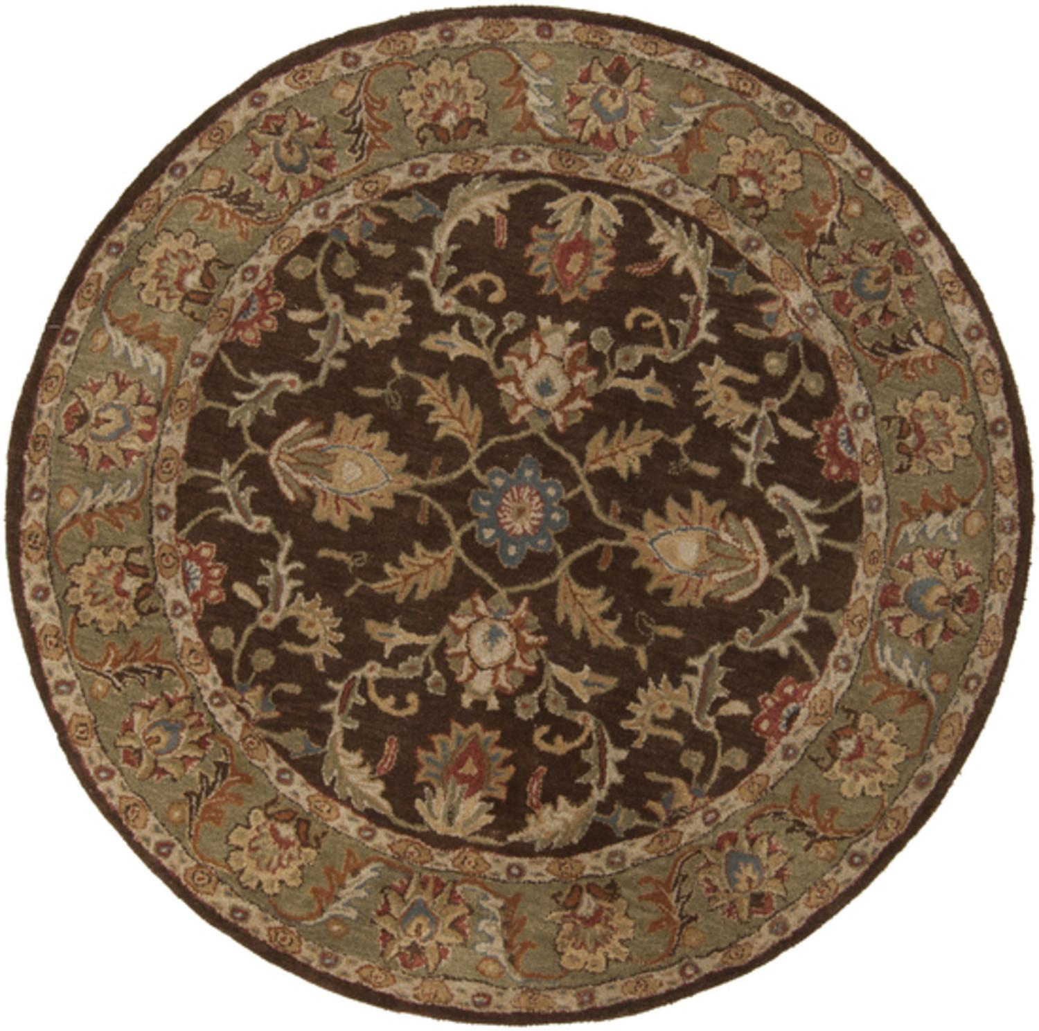 4'  Vespasian Brown and Caper Green Hand Tufted Round Wool Area Throw Rug
