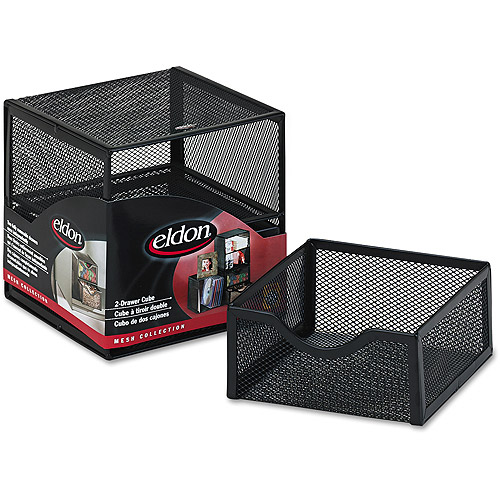 Rolodex Organization 2 Drawer Cube, Wire Mesh, Black