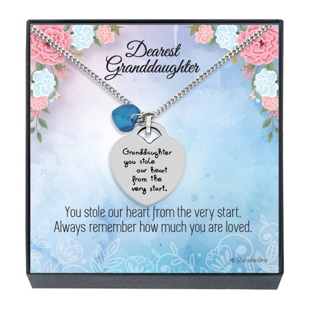 Granddaughter Jewelry Necklace Gifts - ''Granddaughter You Stole Our Heart'' Keepsake Sentimental Heart Necklace for Christmas, Birthday Present Stocking Stuffers for Little Girls (Sky Blue) ()