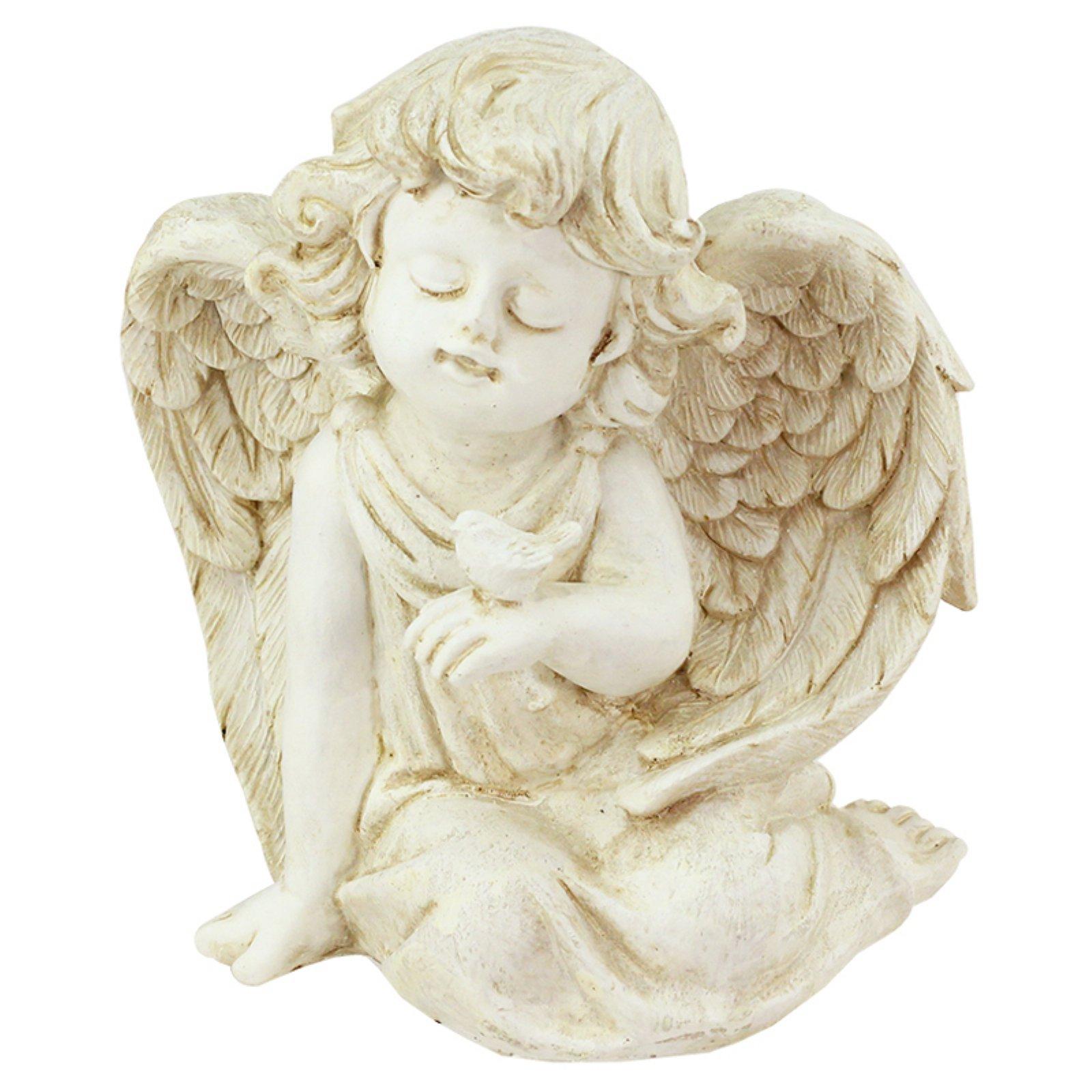 Northlight Heavenly Gardens Sitting Cherub Angel with Bird Outdoor Garden Statue