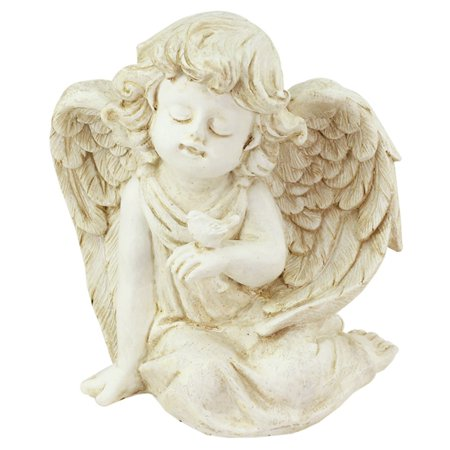 Northlight Heavenly Gardens Sitting Cherub Angel with Bird Outdoor Garden Statue ()