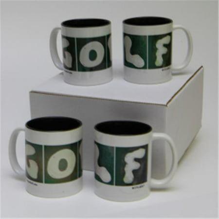 In the Sand Golf 11 Oz. Golf Mugs With Black Interior - Set Of 4 (Golf 4 Interior)