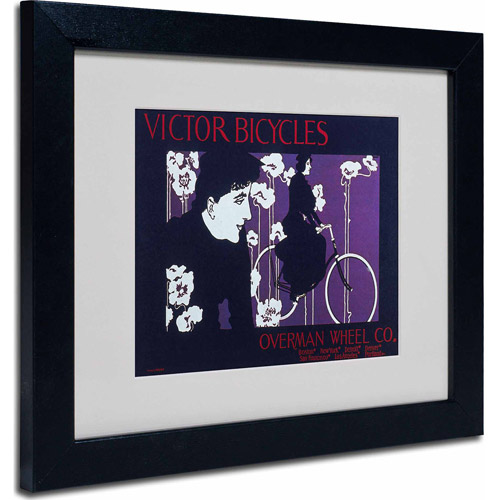 "Trademark Fine Art ""Bike 04"" Matted Framed Art by Vintage Apple Collection, Black Frame"
