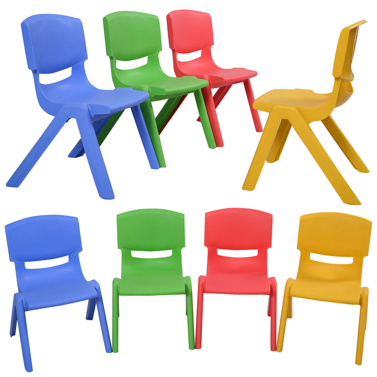 "Global House Products 8-Pcs 14""LX13""WX20""H Lightweight Portable and Stackable Kids Plastic Chairs"