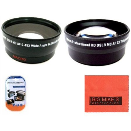 58mm 0.45X Wide Angle Lens + 2X Telephoto Lens For Canon Digital EOS Rebel SL1, T1i, T2i, T3, T3i, T4i, T5, T5i EOS60D, EOS70D, 50D, 40D, 30D, EOS 5D, EOS5D Mark III, EOS6D, EOS7D, EOS7D Mark