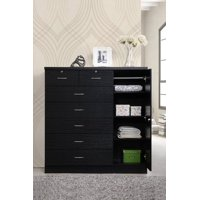 Hodedah 7-Drawer Dresser with Side Cabinet equipped with 3-Shelves, Black
